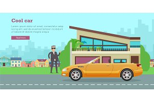 Cool Car Flat Style Vector Web Banner