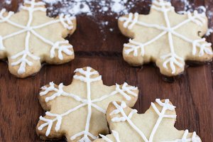 SnowFlake Shortbread Cookies
