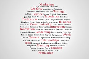 Group of red marketing terms