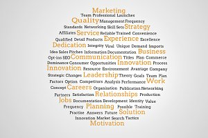 Group of yellow marketing terms