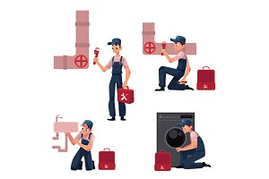 Plumbing specialist at work, repairing sewage pipes, sink, washing machine