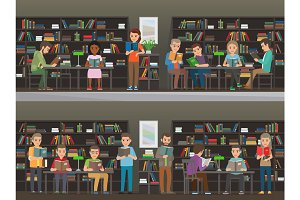People Read in the Library Vector Illustration Set