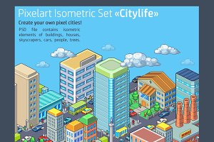 "Pixelart Isometric Set ""Citylife"""