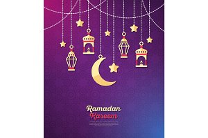 Ramadan Kareem banner with arabic decorations