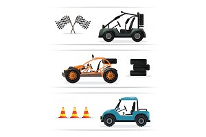Off road buggy car isolated set