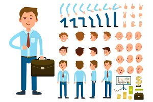 Businessman person character creation set