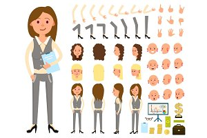 Businesswoman person character creation set