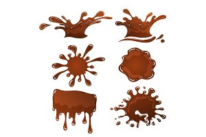 Chocolate splash set isolated vector