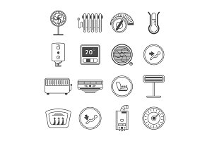 Climate control line art icon set