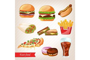 Fast food colorful cartoon icon set