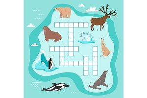 Animals crossword, education game for children