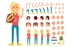 Teenager female person character creation set