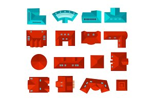 Top view of roof design set