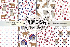 British Bulldog seamless pattern set
