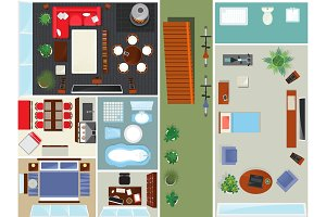 Top view apartment interior set