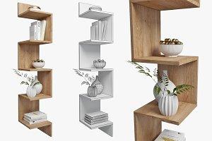 corner shelf and decor