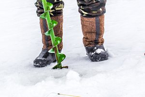 A fisherman on the ice