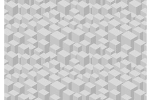 Gray isometric cube seamless pattern