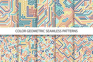 Colorful geometric striped patterns.