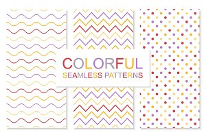 Colorful simple seamless patterns