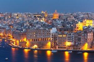Aerial view of Senglea from Valletta, Malta