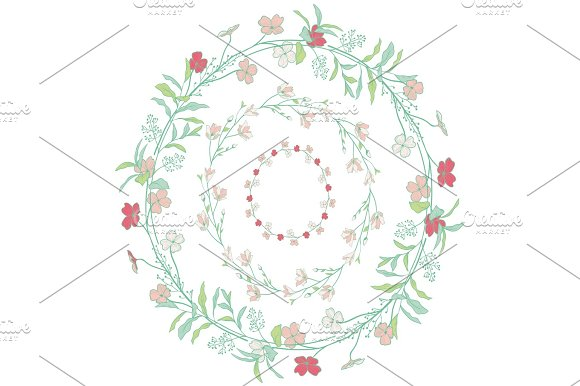 Doodle Wreaths With Branches Herbs Plants And Flowers