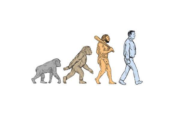Human Evolution Walking Drawing