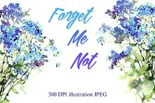 SALE! Watercolor Forget-Me-Not