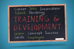 Training and development terms written on a chalkboard