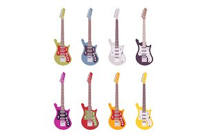 Set of bright electric guitars