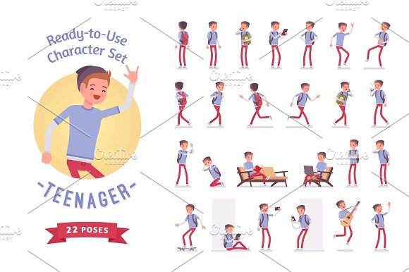 Ready-to-use Teenager Boy Character Set Various Poses And Emotions