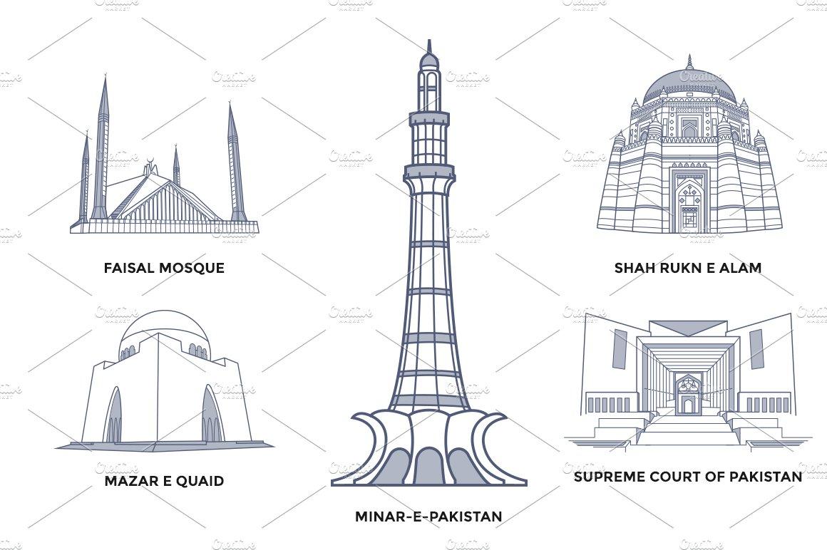 Line Drawing Of Quaid E Azam : Pakistan landmarks illustrations creative market