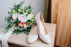 Details of the bride. dress, shoes of bride