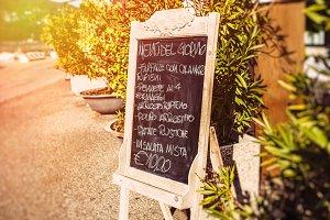 Italian menu chalkboard