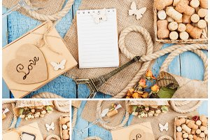 Dry flowers and different holidays decorations on the blue old wooden background