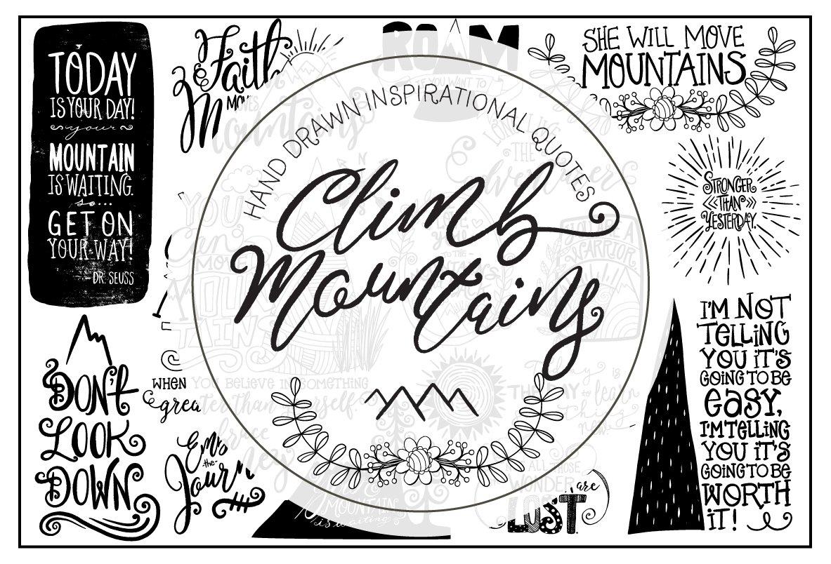 Climb Motivational Quote Lettering ~ Illustrations ~ Creative Market