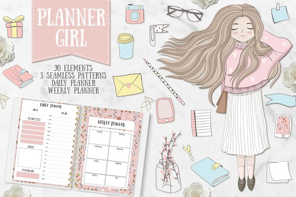 Planner Girl Clipart Weekly Daily