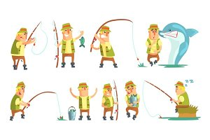 Fisherman In Different Funny Situations Set Of Illustrations