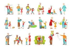Grandparents And Kids Spending Time Together Set Of Illustrations