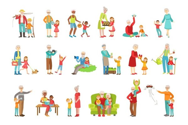 Grandparents And Kids Spending Time…