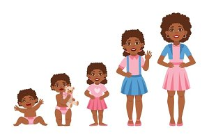 Black Girl Growing Stages With Illustrations In Different Age