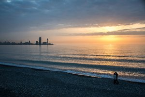 Colorful sunset over Batumi city