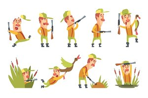 Hunter In Different Funny Situations Set Of Illustrations