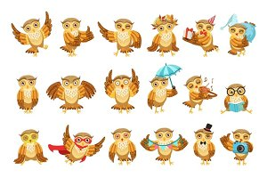 Cute Brown Owl Emoji Icon Set