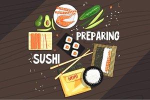 Preparing Sushi Ingredients And Technique