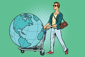 man tourist with a Luggage cart with the planet Earth