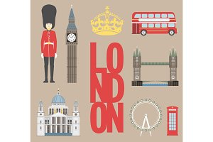 London travel info graphic. Vector illustration, Big Ben, eye, tower bridge and double decker bus, Police box, St Pauls Cathedral, queens guards, telephone.