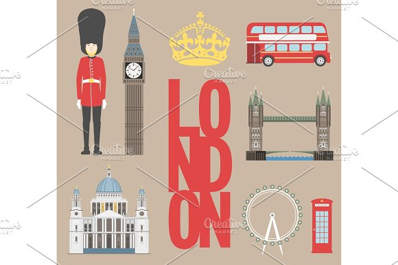 London Travel Info Graphic Vector Illustration Big Ben Eye Tower Bridge And Double Decker Bus Police Box St Pauls Cathedral Queens Guards Telephone