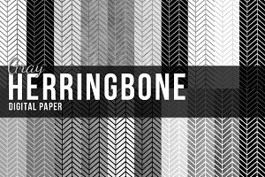 20 Gray Herringbone Papers