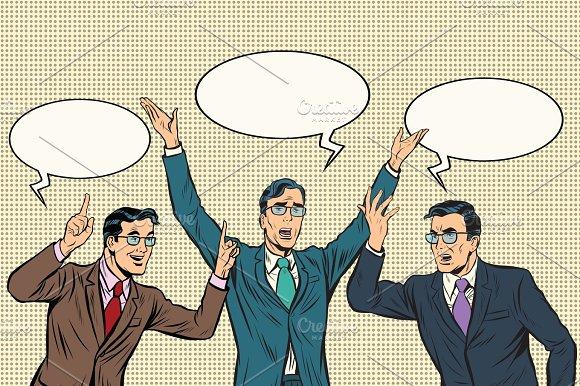 Three Speakers Gestures Businessmen